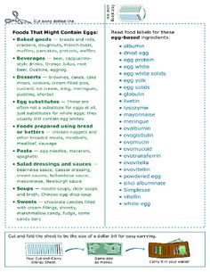 Egg Allergy sheet to carry with me, hand out or stick on fridge