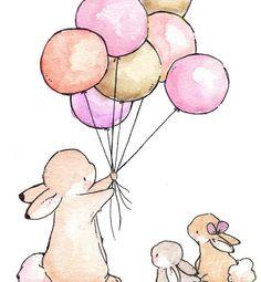 Children Art Print. Balloons for Bunnies. GIRLS. PRINT 8X10. Nursery Art Home Decor