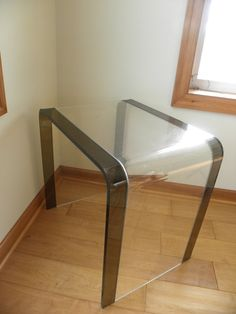 Vintage Lucite Waterfall Side Table Clear with by PacificWhim, $100.00. Hollywood Regency, retro, mod furniture