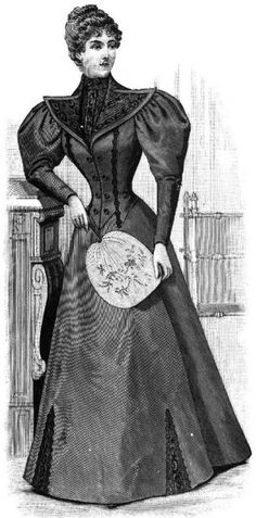 Tailor Gown With Moiré Vest And Revers From Harper's Bazar January 2, 1897