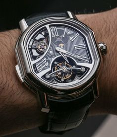 """Bulgari Daniel Roth Carillon Tourbillon Minute-Repeater Watch Hands-On - on aBlogtoWatch.com """"The looks of the watch are undeniably 'Daniel Roth,' with the hexagonal, albeit at some points beautifully curved case and short, straight lugs. What really sets this design off, however, is that the movement – visible through the large openings and the see-through, sapphire dial – follows the shape of the bezel. It is not a round or square movement thrown into a more unusual looking case..."""""""