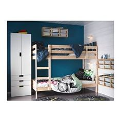 IKEA - MYDAL, Bunk bed frame, , The ladder mounts on the right or the left side of the bed.Made of solid wood, which is a hardwearing and warm natural material.A good solution where space is limited.
