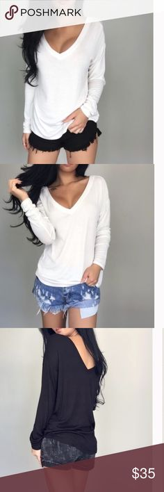White Long Sleeve Loose Fit Wide Deep Vneck Tshirt @itselaine Staple T....additional pics of defects coming soon. EkAttire Tops Tees - Long Sleeve