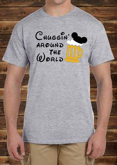 Chugging' Around the World Mickey Mouse Beer Men's Unisex Shirt, Disney Epcot Food and Wine Festival, Drinking Around the World
