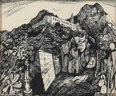 Monastery, Corbara, Corsica by John Minton John Minton, Collage Illustration, Sketch Books, English Artists, Gcse Art, Corsica, New Artists, Art Forms, Illustrators