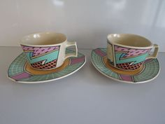 Rosenthal FLASH one  2x COFFEE CUP and Saucer Dorothy Hafner Studio Linie  #Rosenthal