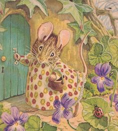 "Beatrix Potter - the original ""Cottage"" Mouse - painted and decorated with gumpaste flowers"