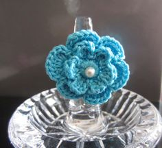 Crochet Flower Ring  Cotton & Fresh Water Pearl Ring by MarKateLiz, $10.00