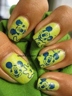 Mickey Mouse Nails Art Paint