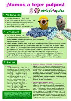 Coleccion de amigurumis a crochet (ganchillo) paso a paso - Step by step amigurumis crochet collection Cute Crochet, Crochet Dolls, Crochet Baby, Knit Crochet, Amigurumi Patterns, Crochet Patterns, Octopus Crochet Pattern, Japanese Crochet, Yarn Colors