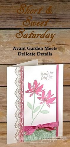 Stampin' Up! Avant Garden Meets Delicate Details by StampinChristy - Cards and Paper Crafts at Splitcoaststampers Scrapbooking, Scrapbook Cards, Stampin Up Katalog, Stamping Up Cards, Rubber Stamping, Cool Cards, Cards Diy, Get Well Cards, Mothers Day Cards