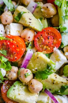 Chickpea Salad loaded with crisp cucumbers, juicy tomatoes, creamy avocado, feta cheese and chickpeas or garbanzo beans. Fresh, healthy and protein packed! Chickpea Salad Recipes, Best Salad Recipes, Vegetarian Recipes, Cooking Recipes, Healthy Recipes, Healthy Food, Vegan Food, Garbanzo Bean Recipes, Cooking Kale