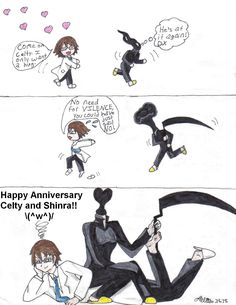 Celty and Shinra chibi comic 1 Anniversary Hug