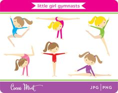 Little Girl Gymnasts Clip Art by cocoamint on Etsy