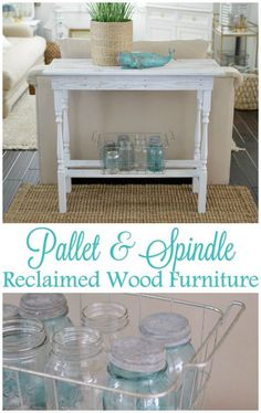 DIY console style table from reclaimed lumber - White washed wood furniture with a coastal cottage farmhouse feel - http://foxhollowcottage.com Fox Hollow Cottage blog by Shannon Fox