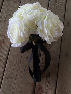 White Rose Bridal Set. Bridal Bouquet Four by FeatheredNestFloral