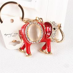 Lovely Elephant Oval Opal Crystal Rhinestone Charm Pendant Purse HandBag Key Ring Chain Creative Party Gift Accessories