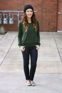 easy fall outfit with beanie