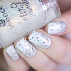 """essence_cosmetics A Winter Tale stamped + Nagel Stamping, Stamping Nail Art, Moyou Stamping, Diy Nails, Cute Nails, Pretty Nails, Winter Nail Designs, Cool Nail Designs, London Nails"