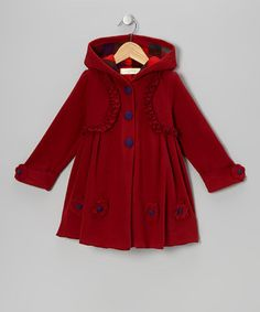 Take a look at this Burgundy Ruffle Hooded Swing Coat - Toddler & Girls by Maria Elena on #zulily today!