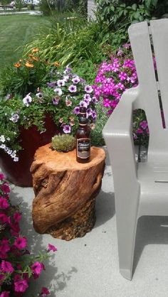 """1 - cut log to your desired height  1 - 4in succulent (plant)    Sand the top of your cut log and drill a hole large enough and deep enough on top so that a 4"""" succulent pot (and plant) will fit.  You can varnish the whole table if you prefer or, keep it beautifully simple and rustic.  Set your trendy succulent pot in it's pocket and...    ...open a beverage of choice, sit yourself down and enjoy your masterpiece!"""