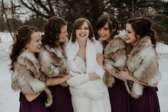 Bundled up with my besties! Say 'I Do' in style, even in the snow with some cold weather accessories on your big day! 📷: @wphotographyyy On Your Wedding Day, Perfect Wedding, Dream Wedding, Wedding Jacket, Wedding Shawl, Winter Bride, Winter Wedding Inspiration, Fur Stole, Whimsical Wedding