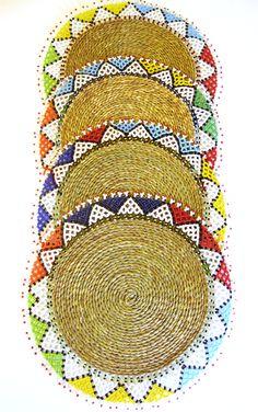 Ndebele Placemats African Design, African Art, Wood Sculpture, Sculptures, African Home Decor, Traditional Wedding, Beadwork, Carpets, Lamps