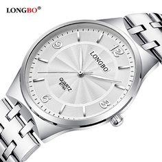 da4b22f5d7f8 2017 LONGBO Luxury Quartz Watch Casual Fashion Steel Strap Watches Men  Women Couple Watch Sports Analog