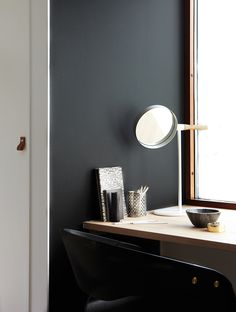 wall colour is LADY Balance 9938 Dempet Sort by Jotun Jotun Lady, Grey Interior Design, Hanging Canvas, Office Walls, Black Walls, Scandinavian Home, Wall Colors, Decoration, Wall Design