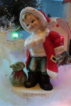 VINTAGE LEFTON PORCELAIN DECEMBER CHRISTMAS BIRTHDAY BOY FIGURINE   eBay