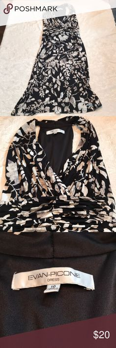 "BLACK/CREAM EVAN PICONE SIZE 10 DRESS Black dress with cream colored leaves. Very flattering dress. I'm 5'7"" and falls just below my knees. Made of 95% polyester and 5% elastane. Machine wash, hang dry. Travels well without wrinkling. Dress worn once. Evan Picone Dresses"