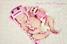 White Bright Pink & Light Pink Sock Monkey Earflap by karlyskloset, $35.00