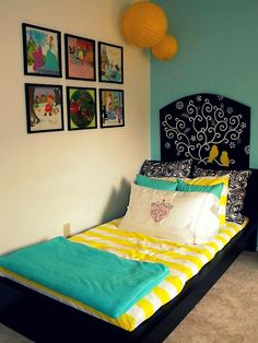 For when Lucie's room loses the crib... with vintage disney screenshots on the wall.