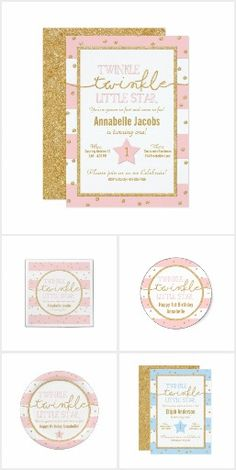 Twinkle Twinkle Little Star A bright, cheerful collection of birthday invitations and party accessories for a 'twinkle twinkle little star' themed birthday for your little one. Available in several color palettes.