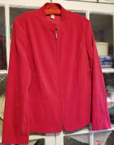 JM-COLLECTION-Red-Full-Zipper-Closure-BLAZER-JACKET-Size-12