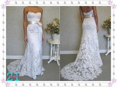 Lace Wedding Dresses,Sweetheart Wedding Dresses, Strapless Ivory Wedding Gown, Sheath Sexy Custom Made Wedding Dresses 2014