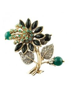 Brooch in rose gold, silver, diamonds, onyx, green agate, emeralds and onyx. Poppy Brooches, Green Agate, Emeralds, Silver Diamonds, Poppies, Rose Gold, Black, Jewelry, Gold