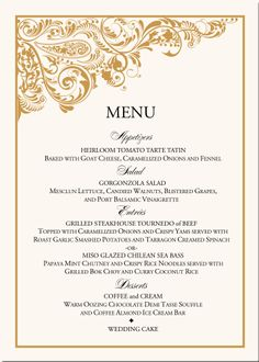 Wedding Menu Cards With Name Paisley Corner Card Give The Guests