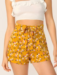 78ecf8b67d42 Ditsy Floral Paperbag Waist Belted Shorts | SHEIN