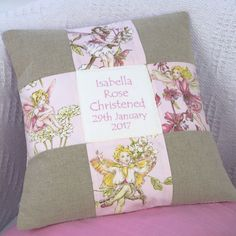 Flower Fairy© Patchwork Christening Cushion Little Girl Gifts, Little Girls, Christening, Personalized Gifts, Fairy, Cushions, Throw Pillows, Flower, Scrappy Quilts