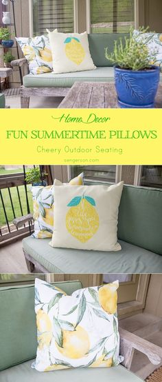 Summertime patio decorating with cute lemon throw pillows! So cute and fun with coordinating designs! Pillows are from @wallsneedlove and have an awesome selection. Blogger at www.sengerson.com.