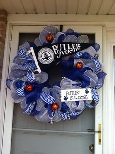 Butler University Deco Mesh Wreath Butler by QueenWreaths on Etsy, $100.00