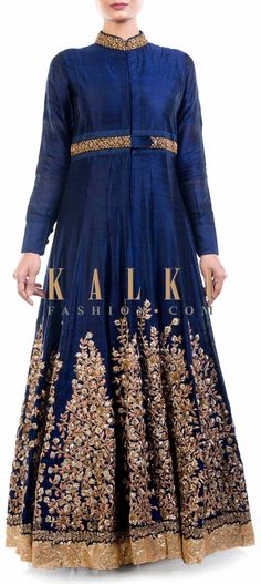 Buy Online from the link below. We ship worldwide (Free Shipping over US$100) Price- $639 Click Anywhere to Tag http://www.kalkifashion.com/royal-blue-raw-silk-jacket-with-chiffon-lehenga.html