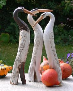 Keramik - Gartenkeramik REIERVOGEL JanuarWeiß - ein Designerstück von Brigitte_Peglow bei DaWanda