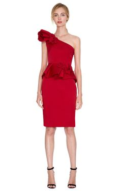 Sculpted One-Shoulder Dress With Hand-Draped Roses by Marchesa