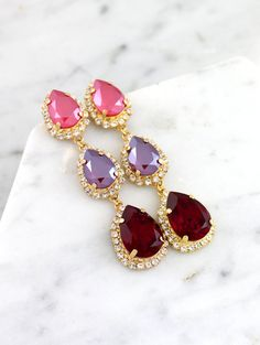 Red Chandelier Earrings Ruby Bridal Earrings Swarovski Ruby Ruby Earrings, Bridal Earrings, Statement Earrings, Bridal Jewelry, Diamond Earrings, Red Chandelier, Chandelier Earrings, Chandeliers, Ruby Wedding