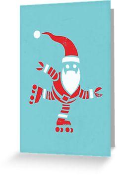 Roller Skating Robot Santa Christmas Card by Richard Morden.