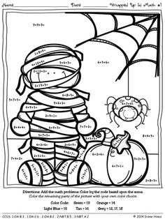 Wrapped Up In Math ~ Halloween Color By The Number Code Addition Puzzle Printables ~This Color By Number Unit Is Aligned To The CCSS. Each Page Has The Specific CCSS Listed.~ This set includes 4 math puzzles ~ Adding 3 Addends. $