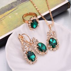 Read more about Water Drop Shape Crystal Earrings - green 1 or related  jewelry sets. edce21a77ed7