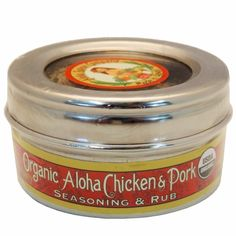 Organic Aloha Chicken & Pork Rub & Seasoning 3.1oz Stainless Steel Tin  FREE SHIPPING ON ORDERS OVER $50